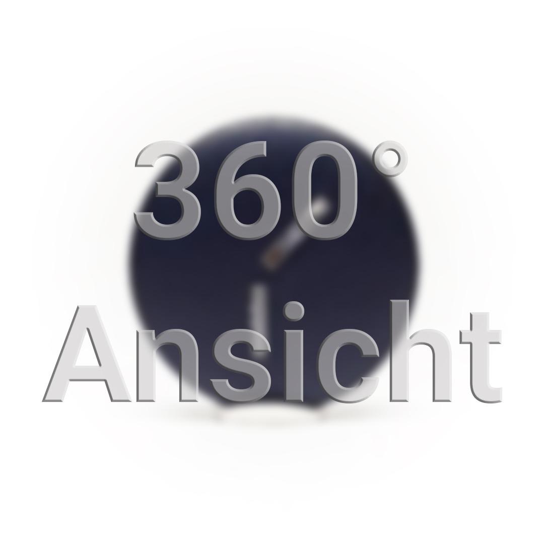 360° Ansicht Vorschaubild. Dunkelblauer Ansteckknopf mit zwei durchsichtigen Streifen um Licht einzufangen.