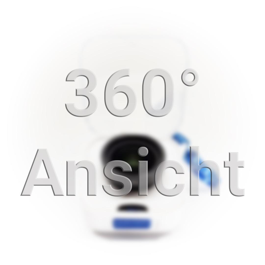 360° Ansicht Vorschaubild. Verpackung des Teleobjektivs mit aufklappbarem durchsichtigem Deckel.